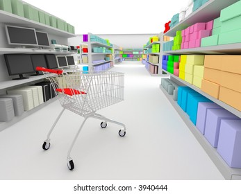 shopping cart standing between shelves in the supermarket