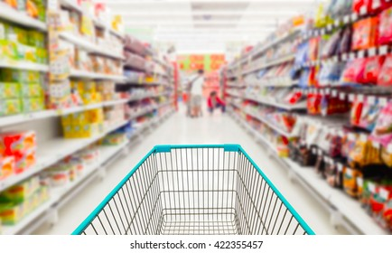 Shopping cart in supermarket.