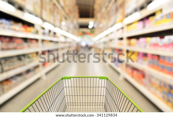 Shopping cart in supermarket.