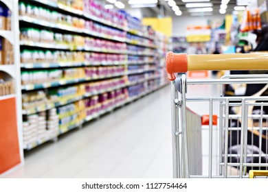Shopping cart in supermarket closeup