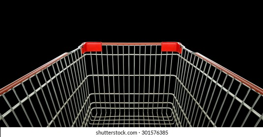 Shopping cart trolley basket isolated on black.