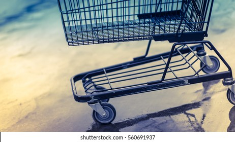 Shopping cart trolley supermarket in a vintage style.