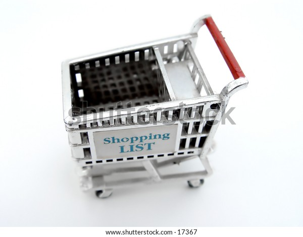 Shopping Cart with word shopping list on side, isolated on white background