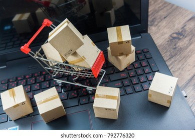 Shopping Carts, Boxes, Paper Boxes, Putting on Notebook Computers, Inventory Management, Warehouse