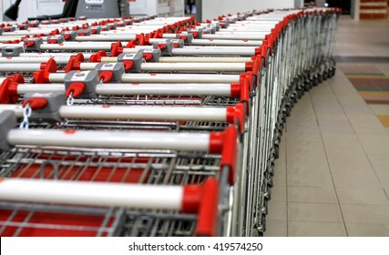 shopping carts shopping carts to buy food and other goods in a big shopping center.