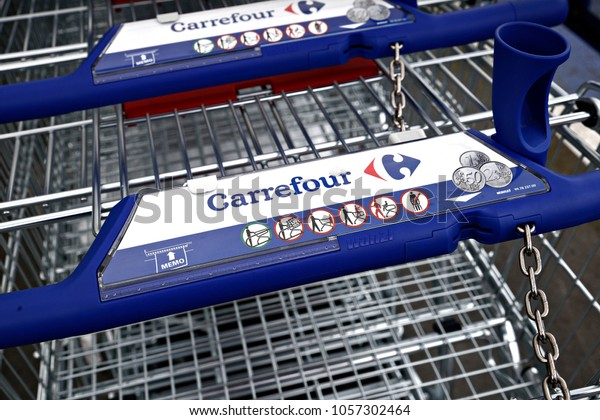 Shopping carts are seen outside a Carrefour supermarket in Brussels, Belgium on Jan. 27, 2018.
