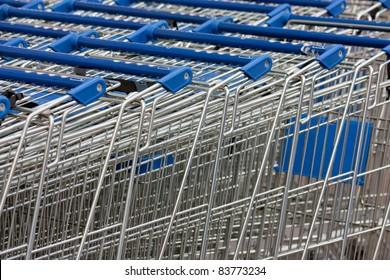 shopping carts stacked up