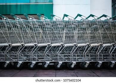 Shopping carts at supermarket