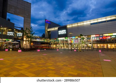 SHOPPING CENTER SFERA, BIELSKO-BIALA, POLAND - JUNE 16: Big shopping center in city centrum, June 16, Bielsko-Biala, Poland. Mall was build in two steps - 2001 and 2009 year