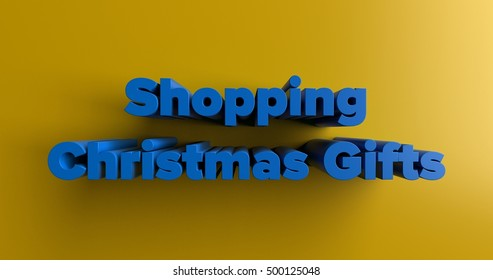 Shopping Christmas Gifts - 3D rendered colorful headline illustration.  Can be used for an online banner ad or a print postcard.