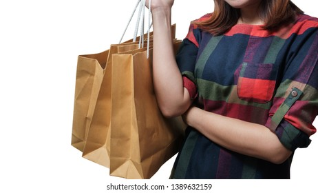 Shopping close up asian woman holding bags, isolated on white background, Copy space with clipping path.