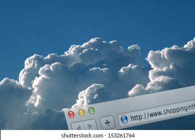 SHOPPING IN THE CLOUD - Browser address line over real clouds