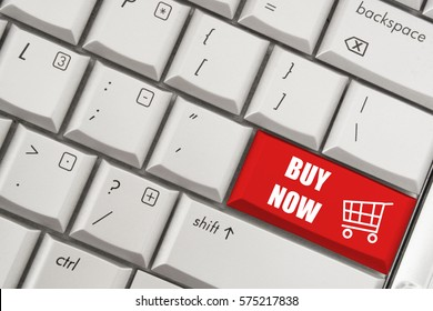 Shopping concept with laptop computer keyboard