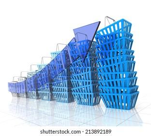 Shopping. Digitally Generated Image. Isolated On White.