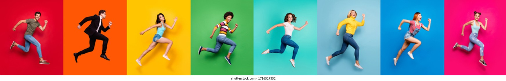 Shopping discount freedom inspiration concept. Panoramic photo collage of eight funny funky crazy motivated diverse shiny emotional energetic group human person running to dream isolated background