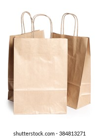 Shopping. Empty paper bags with handles