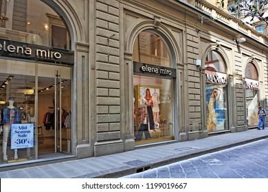 Shopping. Exterior of Elena Miro store. Curvy brand for women who wish to highlight their plus size femininity. Stylish elegant women's clothing. Fashion. Italy, Florence - April 17, 2018