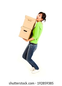 shopping girl with carton boxes, full lenght, white background