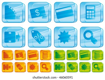 Shopping glass icons