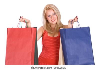Shopping happy woman. Studio shot.