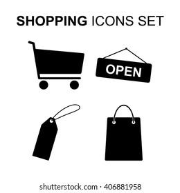 Shopping icons set. Silhouette symbols illustration