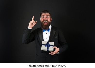 Shopping idea. Happy shopper got idea black background. Businessman shopping for present. Bearded man enjoy shopping. Gift shop. Sale and discount. Black Friday. Cyber Monday. Shopping for every need.