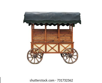 a shopping kiosk or counter stylized as an old cart. Isolated