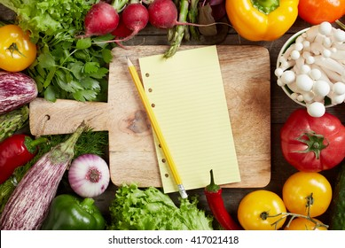 Shopping list and vegetables