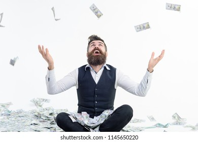 Shopping lottery. Income. Benefit. Earnings. People concept. Portrait of satisfied bearded millionaire. Easy-money. Bearded man excited with money. Bearded man with money. Isolated.