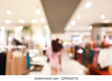 Shopping mall or department store with blurred background and bokeh light.