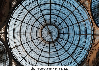 Shopping mall open air roof in circle shape and blue sky