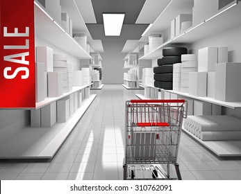 Shopping mall with products on shelves and shopping cart in front
