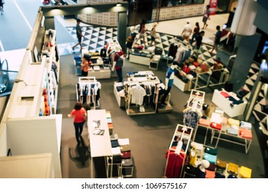 Shopping mall top view blurred indoors with light for lifestyle concept