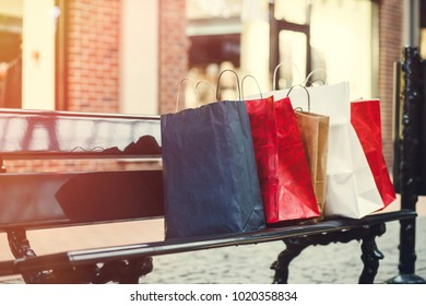 Shopping on the bench