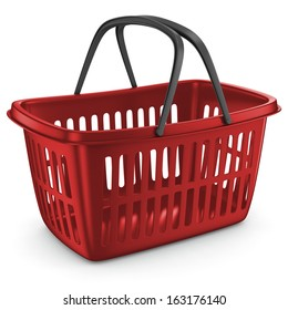 Shopping Plastic Basket Red