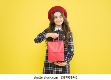 Shopping and purchase. Black friday. Sale discount. Shopping day. Little french lady adore shopping. Birthday girl. Favorite brands hottest trends. Girl with shopping bag. Explore fashion industry.