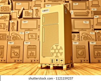 Shopping, purchase and delivery concept, box with a refrigerator icon on the background of a cardboard boxes with household appliances and electronics in the warehouse, 3d illustration