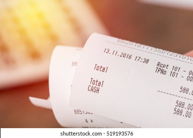 Shopping receipt bill with calculator. vintage filter