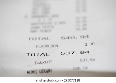 Shopping receipt with danish words and numbers in danish krones