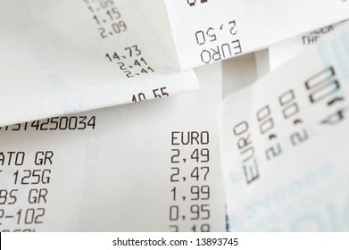 Shopping receipts with euros amounts
