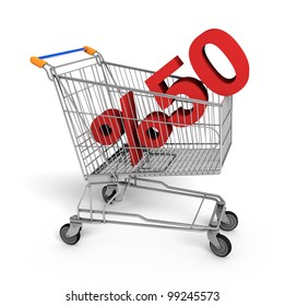 Shopping Sale - 50% Discount shopping chart white background