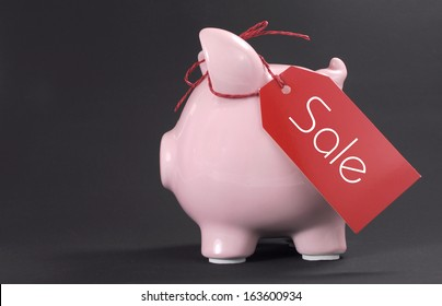Shopping sale concept with red ticket Sale tag hanging from piggy bank with copy space for your text here.