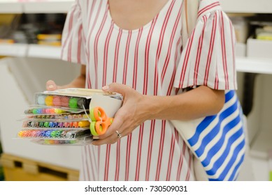 Shopping selection. Closeup picture of vibrant color markers, palette group background. Craft variation educational supplies and artistic leisure activity