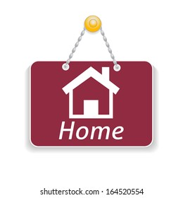 Shopping sign board with icon home. Rasterized copy