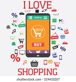 Shopping with smartphone. Shopping icons. Electronic commerce