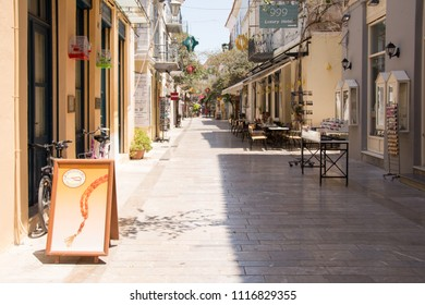 shopping street in the center of the old town in the Nafplio , Greece , photographed in June 23. 2017.