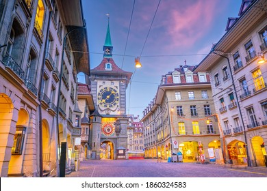 Shopping streets in the historic old  city centre of Bern, cityscape  in Switzerland at sunset