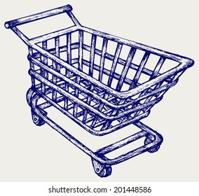 Shopping supermarket cart. Doodle style. Raster version