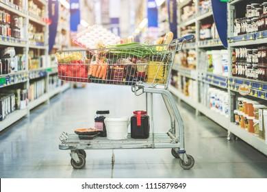 Shopping at supermarket, shopping concept