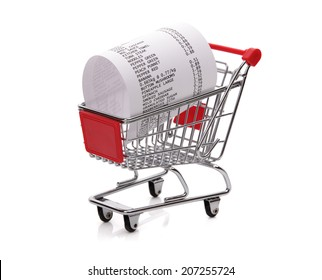 Shopping till receipt in cart concept for grocery expenses and consumerism